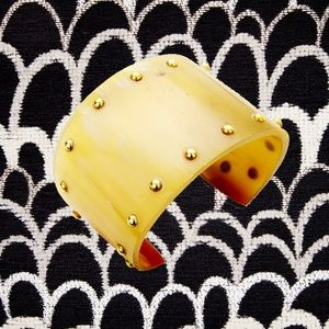 Genuine Horn Gold Bead Detail Cuff Bracelet